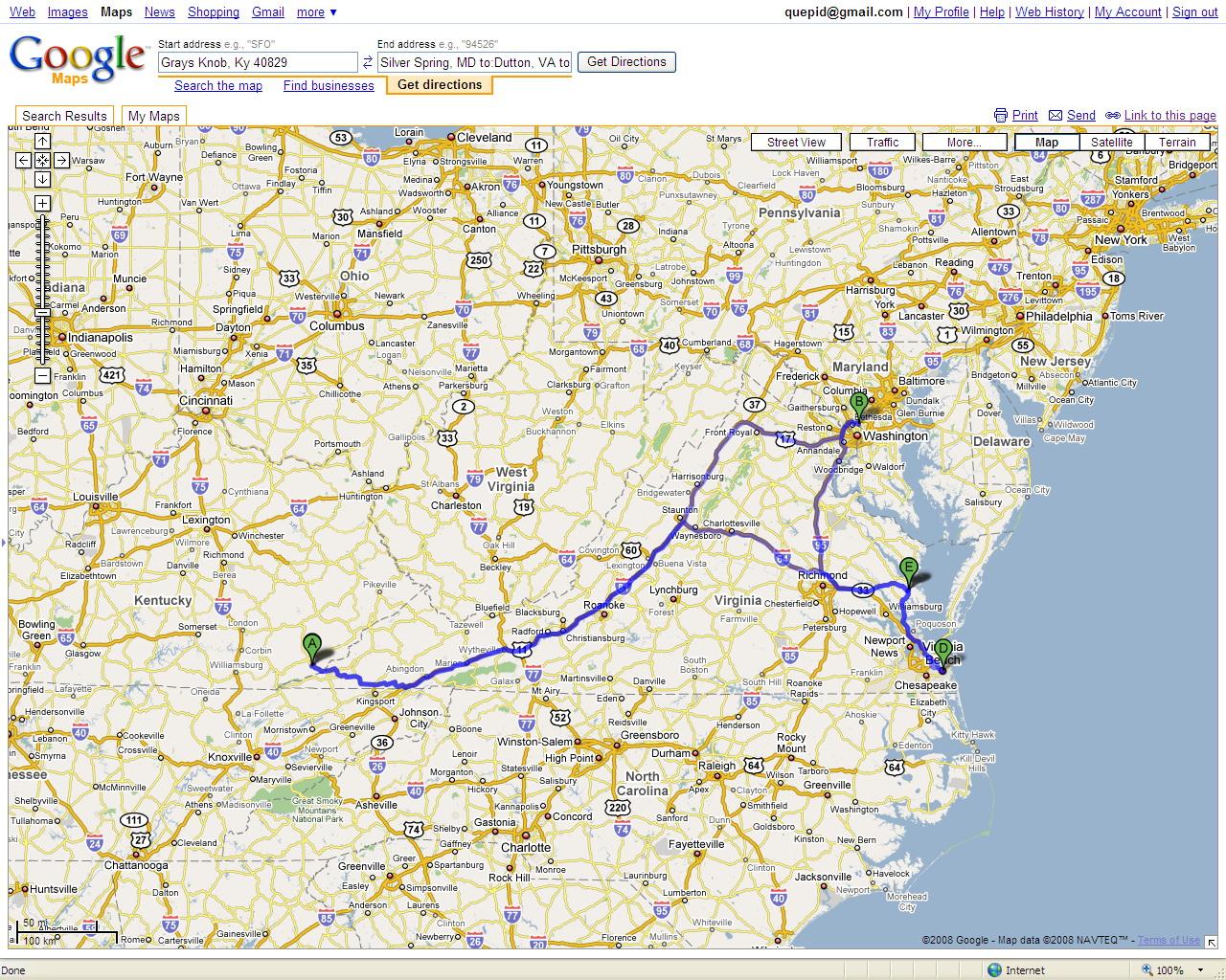 Road Trip 2008 Map
